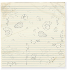 summer star fish and shell doodles vector image vector image