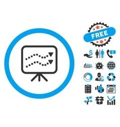 Trends presentation flat icon with bonus vector