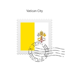 Vatican city flag postage stamp vector