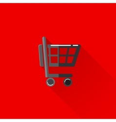 vintage of a shopping cart in flat style with long vector image vector image