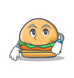 waiting burger character fast food vector image vector image