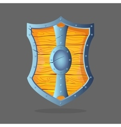Wooden shield with metal frame and oval middle in vector
