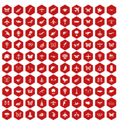 100 fly icons hexagon red vector