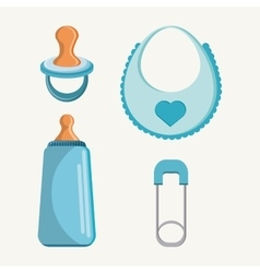 Pacifier bottle and baby bib design vector