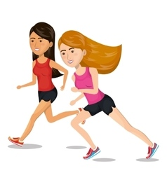 Girl cartoon running jogging icon graphic vector