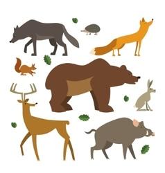 Forest animals icons set Wild european animals vector image