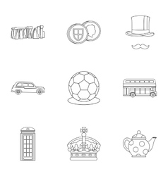 Country united kingdom icons set outline style vector