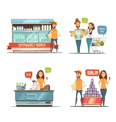 People in Supermarket Cartoon Icons Collection vector image