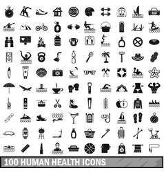 100 human health icons set simple style vector