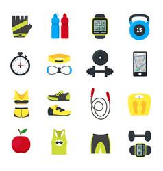 cartoon fitness sport tools icons set vector image