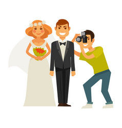 Wedding photographer and couple bride and groom vector