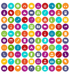 100 crime investigation icons set color vector