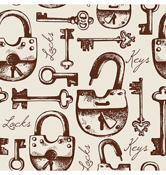 Vintage seamless pattern of locks and keys vector image