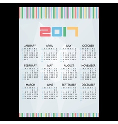 2017 simple business wall calendar abstract paper vector image