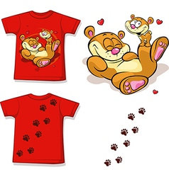 Kid shirt with cute bear printed - isolated on vector
