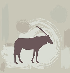 East african oryx silhouette on grunge background vector