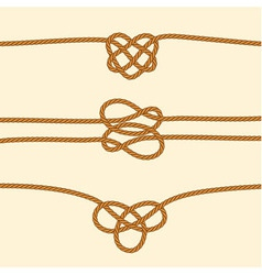 Set of rope borders with decorative knots vector