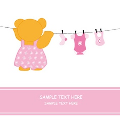 Bear hanging clothes vector