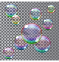 Multicolored soap bubbles vector