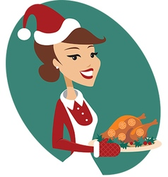Woman holding christmas turkey vector