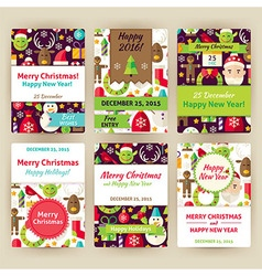 Happy new year flat invitation template set vector