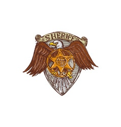 Sheriff badge american eagle shield drawing vector