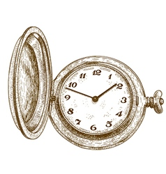 Engraving pocket watch vector