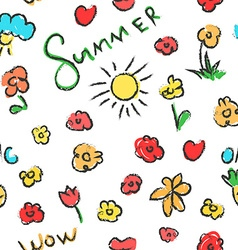 Summer seamless pattern flowers background vector