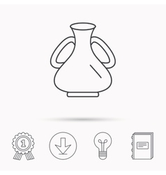 Vase icon decorative vintage amphora sign vector