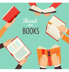 Hands with books vector