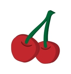 A couple of red cherries cartoon icon vector image vector image