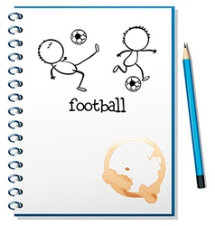 A notebook with a football design vector image