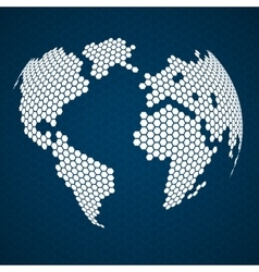 Abstract globe earth of hexagons vector image