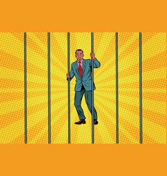 african businessman in jail behind bars vector image