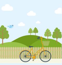 Beautiful simple cartoon meadow with orange racing vector