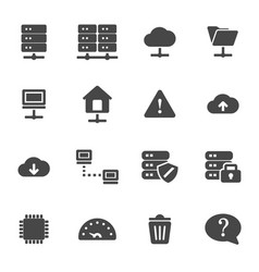 black ftp icons set vector image vector image