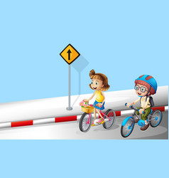 Boy and girl riding bike on the street vector