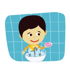 Boy hand washing vector