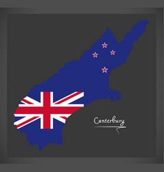 Canterbury new zealand map with national flag vector