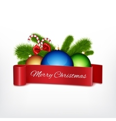 Christmas ball with red ribbon vector image