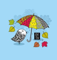 Doodle bird under the colorful bright umbrella vector