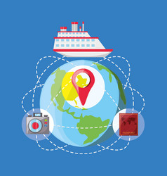 Earth planet with cruise and ubications travel vector