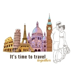 Europe travel couple composition vector