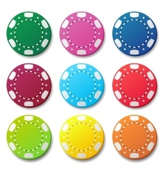 Gambling casino poker chips color sign vector image