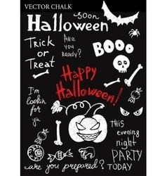 Hand Drawn Halloween Chalk Doodles Set vector image vector image