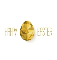 Happy Easter banner in low poly triangle style vector image