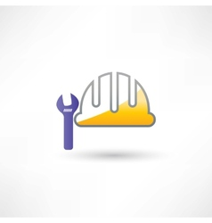 Helmet and wrench icon vector