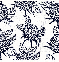 ink hand drawn seamless pattern with chrysanthemum vector image vector image