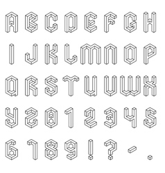 Isometric Alphabet and Numbers vector image vector image