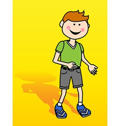 Little boy over yellow vector image